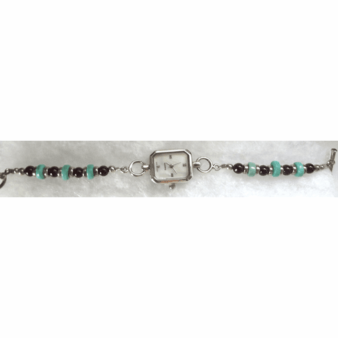 Turquoise Stone and Garnet Band