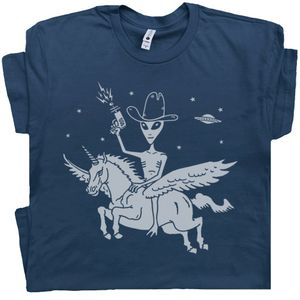 Alien Riding Unicorn T Shirt