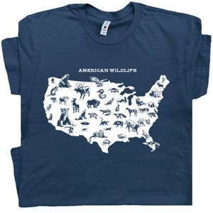 American Wildlife T Shirt Cool Nature Map Tee