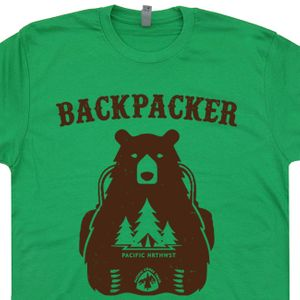 Backpacker Bear T Shirt Pacific Crest Trail Shirt Hiking T Shirt Camping