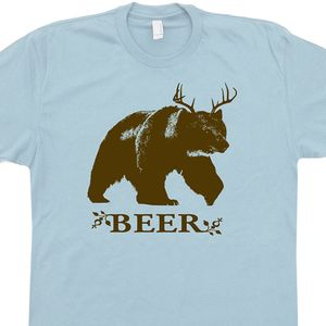 Bear Deer Beer T Shirt Funny Graphic Tee