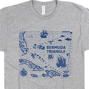 Bermuda Triangle Map T Shirt Caribbean Shirts UFO T Shirts Alien Abduction Sailing Shirts Area 51 Tee