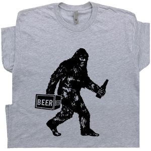Bigfoot Drinking Beer T Shirt