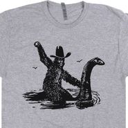 Bigfoot Riding Nessie T Shirt