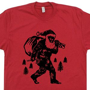 Bigfoot Santa Clause T Shirt Funny Christmas Shirt Sasquatch Tee Shirt