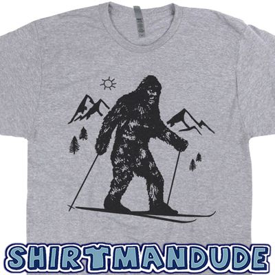 Bigfoot Skiing T Shirt Funny Skier Shirt Cool Snow Skiing Tee Shirt Sasquatch