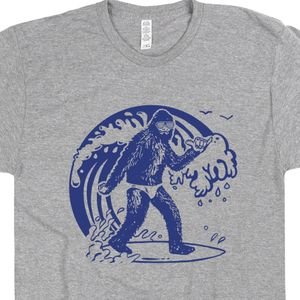 Bigfoot Surfing T Shirt Retro Graphic Surfing T Shirts Sasquatch Surfer Tee