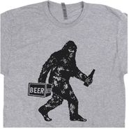 Bigfoot Drinking Beer T Shirt Funny Graphic