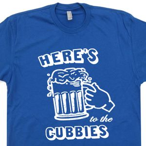Chicago Cubs T Shirts Here's To The Cubbies Vintage Retro Beer Tee
