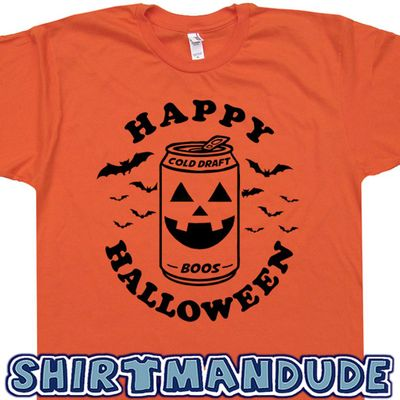 Funny Halloween Shirt Beer Can Pumpkin T Shirt Drunk Pumpkin Vintage Halloween Shirt