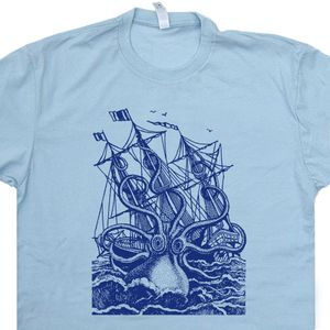Giant Octopus T Shirt Squid T Shirt Vintage Sailing Shirts Sea Monster Shirt
