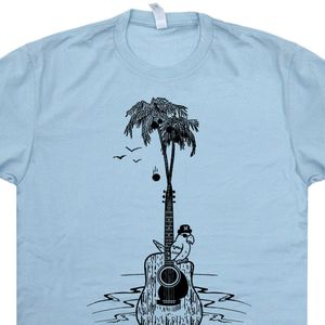 Guitar Tree T Shirt Cool Vintage Band Shirts Parrot Head Palm Tree Tees