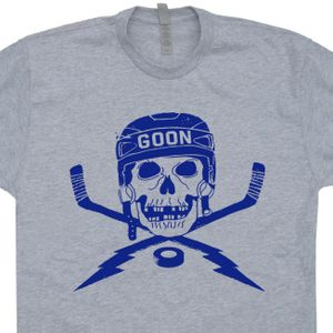 Hockey Goon T Shirt Vintage Hockey Shirt Hockey Skull and Sticks Graphic