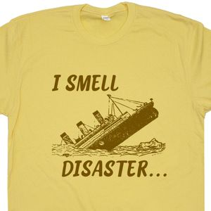 I Smell Disaster T Shirt Funny Shirt Saying Titanic Movie Poster Shirts 80s 90s Graphic Tee Shirt Slogan