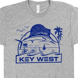 Key West T Shirt Florida Keys Marlins Shirts Vintage Travel Poster Everglades Fishing Sailfish Swordfish Tee