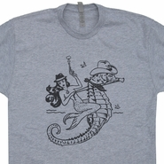 Mermaid Cowgirl Riding Seahorse T Shirt