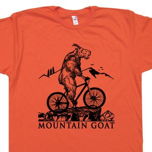 Mountain Bike T Shirt Mountain Goat Riding Bicycle