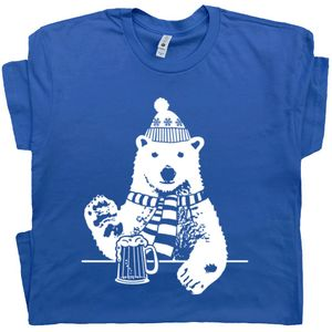 Polar Bear T Shirt Drinking Beer Tee