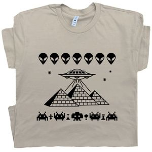Pyramids UFO T Shirt Graphic Alien T Shirt