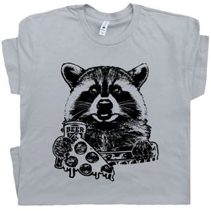 Raccoon T Shirt Pizza and Beer Graphic Tee