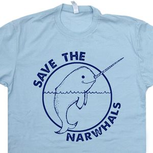Save The Narwhal T Shirt Funny Animal Tee