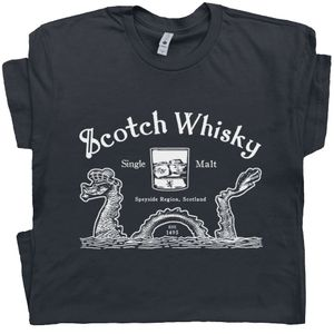 Scotch Whisky T Shirt Loch Ness Monster Tee