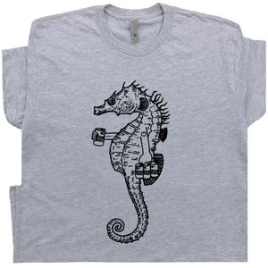 Seahorse Drinking Beer T Shirt Funny Retro Tee