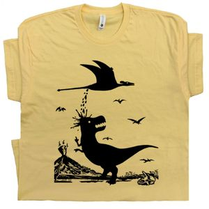 T Rex Hates Pterodactyl T Shirt Yellow Tee