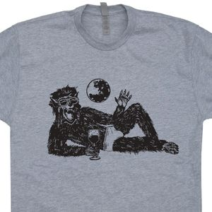 Wolfman Drinking Wine T Shirt Vintage Horror Movie Shirts Wolfman Shirt