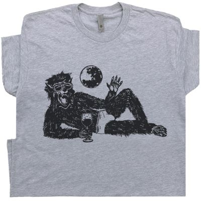 Wolfman Drinking Wine T Shirt