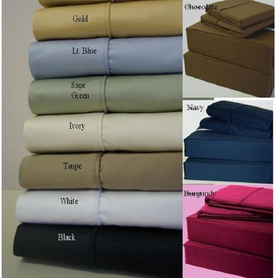 21 inches EXTRA DEEP POCKET - 600 Thread Count Sheet Sets (Style: Solid)