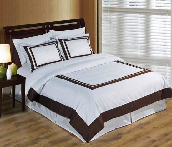 Hotel White and Chocolate Egyptian Cotton Duvet Cover Set