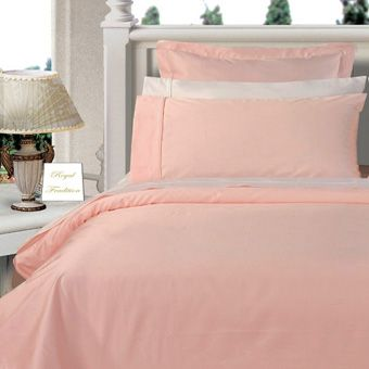 3PC 100% Egyptian Cotton Twin XL Blush (Pink) Solid Comforter Cover Set