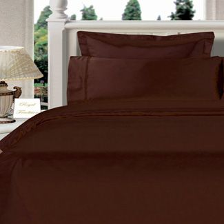 3PC 100% Egyptian Cotton Twin XL Chocolate Solid Comforter Cover Set