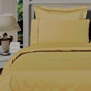 3PC 100% Egyptian Cotton Twin XL Gold Solid Comforter Cover Set