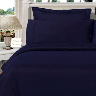3PC 100% Egyptian Cotton Twin XL Navy Solid Comforter Cover Set