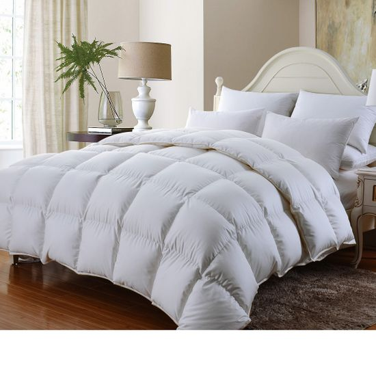Luxury Goose Down Comforter 600-Thread-Count, BAFFLE BOX CONSTRUCTION, 100% Egyptian Cotton Solid White