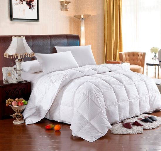 All Year Luxurious Goose Down Stripe Comforter, 800 Thread Count, 100% Egyptian Cotton Cover