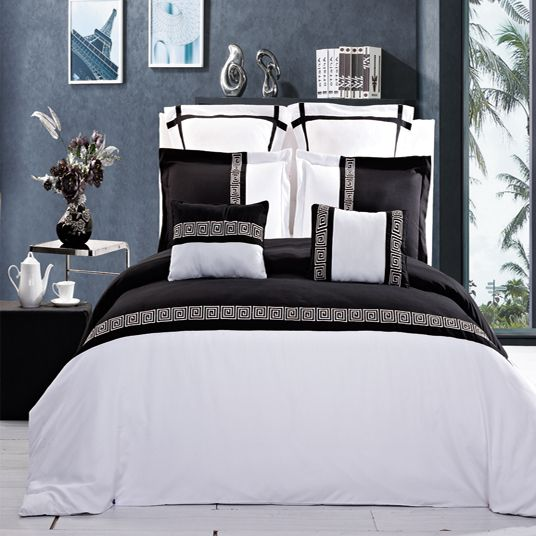7 PC Astrid Black and White Embroidered Duvet Cover Set