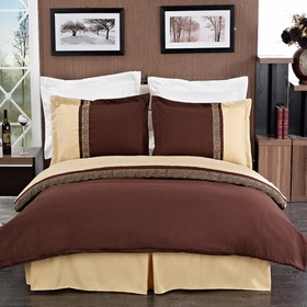 Astrid Gold & Chocolate Embroidered 3-Piece 100% Brushed Microfiber Duvet Cover Set