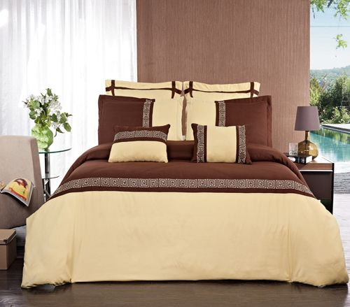 7PC Astrid Gold & Chocolate Embroidered Duvet Cover Set