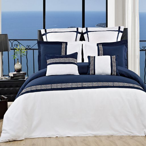 7PC Astrid Navy and White Embroidered Duvet Cover Set