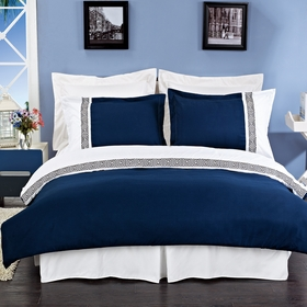 Astrid Navy Blue & White Embroidered 3-Piece 100% Brushed Microfiber Duvet Cover Set