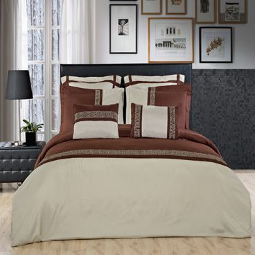 7PC Astrid Sage & Chocolate Embroidered Duvet Cover Set