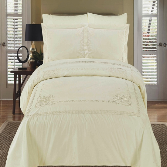 Athena Ivory Embroidered 100% Cotton 3-Piece Duvet Cover Set
