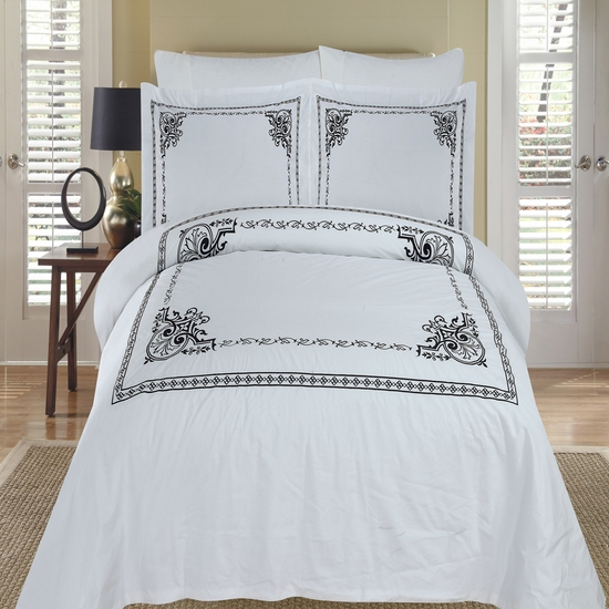 Athena White & Black Embroidered 100% Cotton 3-Piece Duvet Cover Set