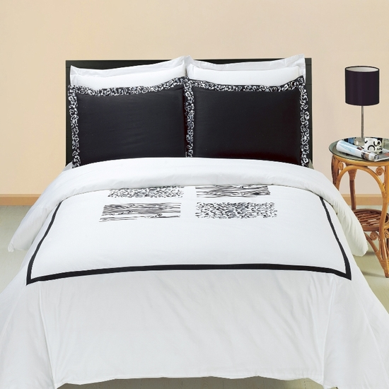 Burbank Embroidered 100% Cotton 3-Piece Duvet Cover Set