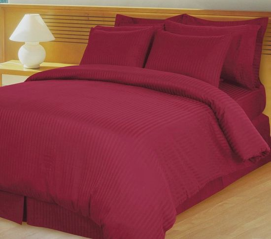 Burgundy Damask Stripe Down Alternative 4-pc Comforter Set, Egyptian 600 count
