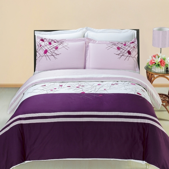 Cherry Embroidered100% Cotton 3-Piece Duvet Cover Set