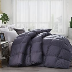 Luxurious All-Season Goose Down Comforter Duvet Insert, Classic Gray, Premium Baffle Box, 1200 Thread Count 100% Egyptian Cotton Cover, 750+ Fill Power